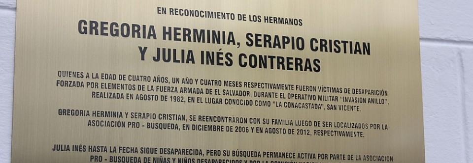 Develación de placa conmemorativa por el caso Contreras y Otros.